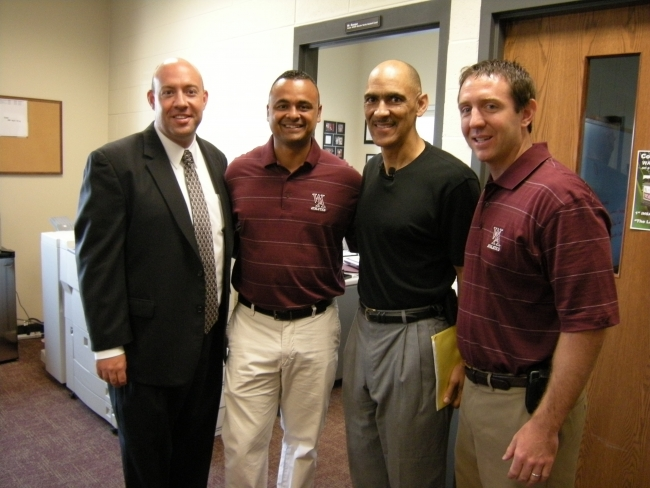 Tony with coaches from Wheaton Academy where he spoke at a Family First breakfast