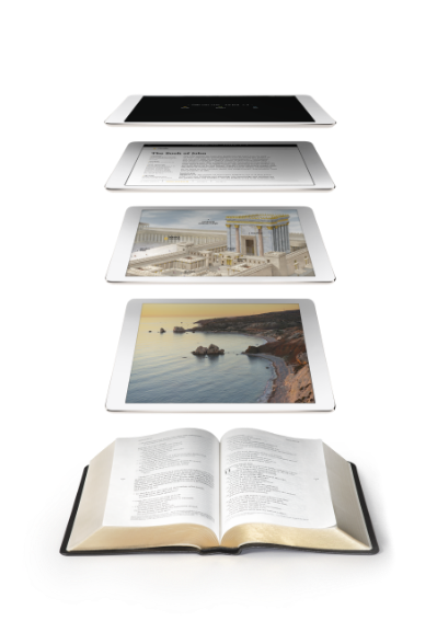 Conceptual photo showing how the Filament Bible app works with the print bible