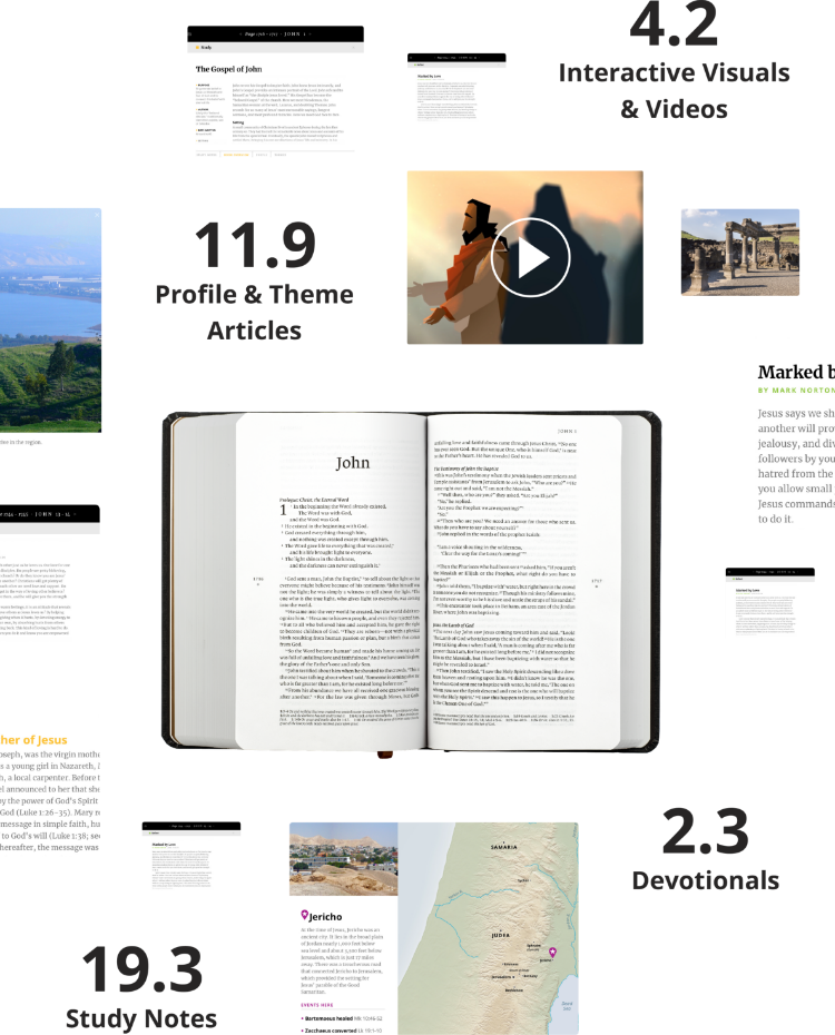 On average, each page links to 19 study notes, 11 profile and theme notes, 4 interactive videos and visuals, and 2 devotionals.