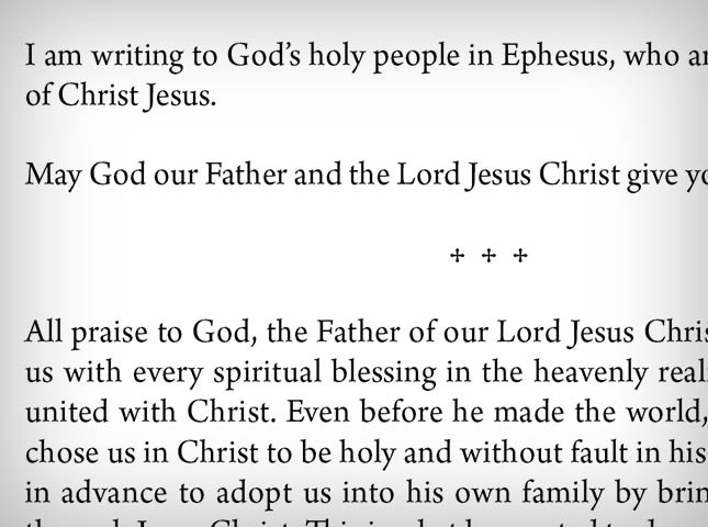 Immerse Bible text on page
