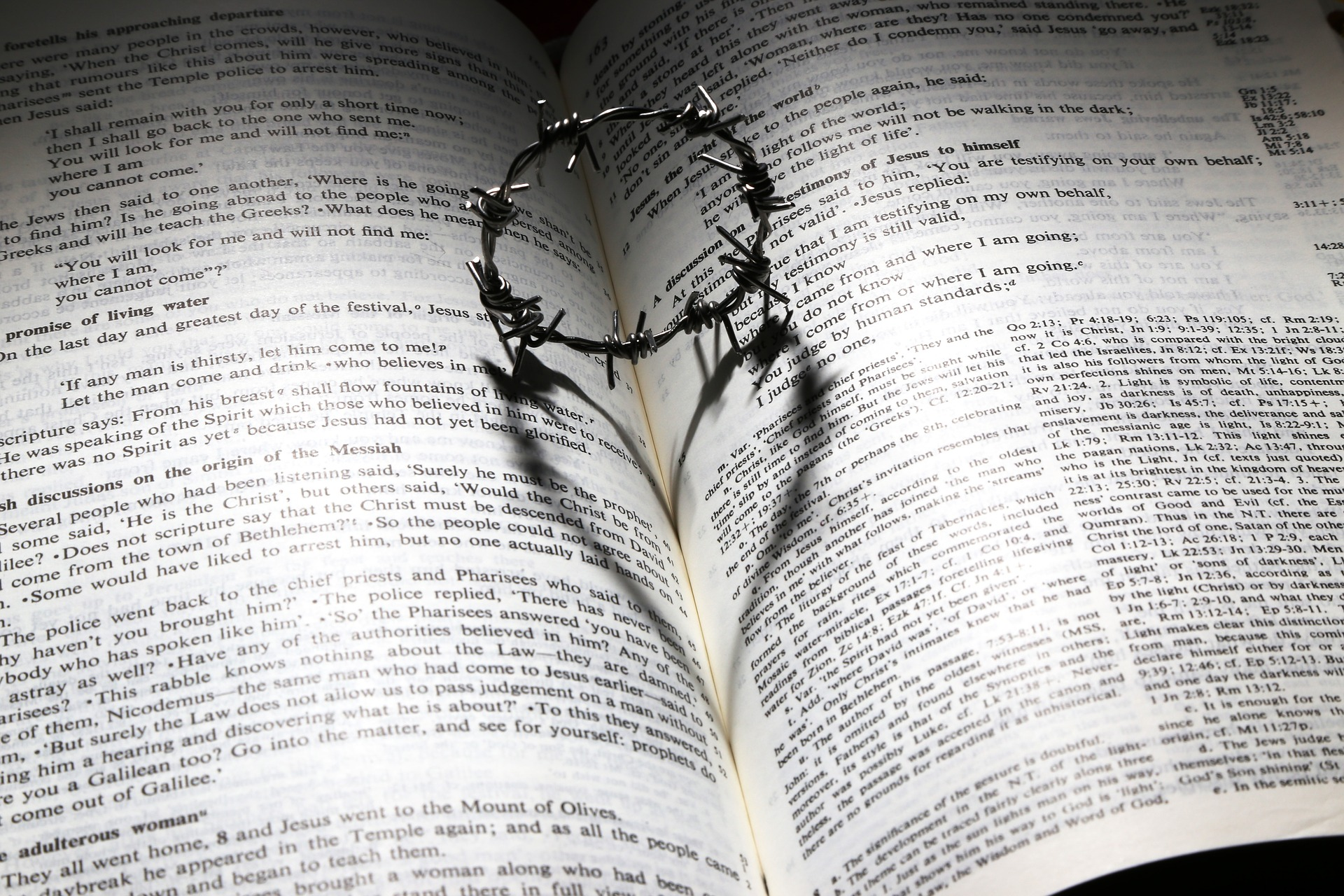 thorn crown laying on Bible across pages