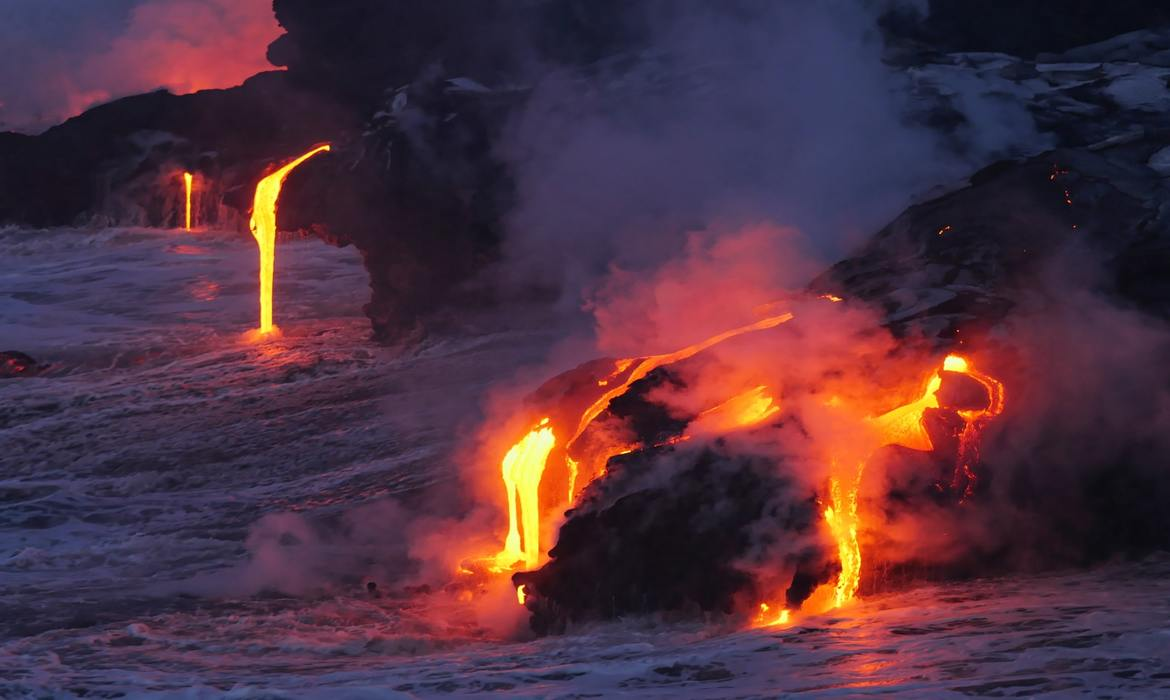 molten lava dripping out of a volcano