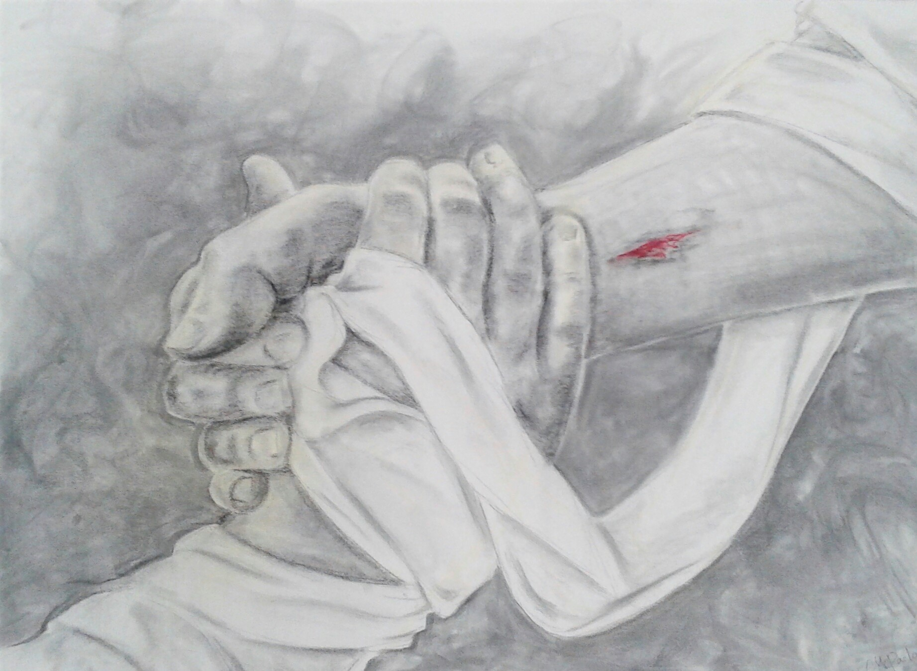charcoal drawing of Jesus grasping the hand of Lazarus when he raised him from death