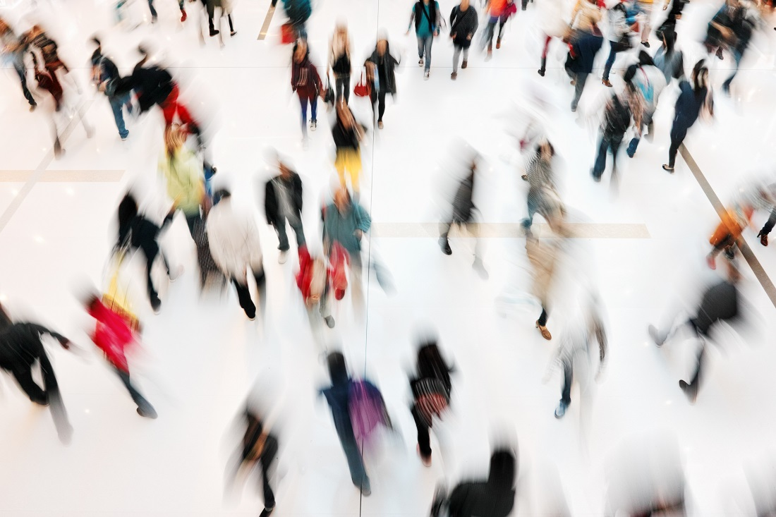 aerial view of people walking in indoor mall