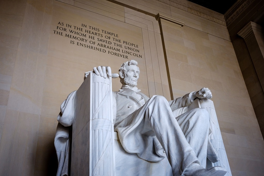 close-up of Abraham Lincoln statue inside the Lincoln Memorial
