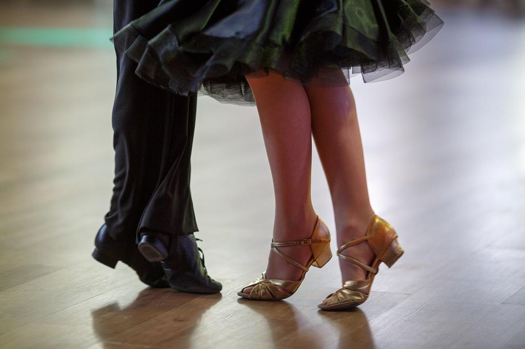 close-up of ballroom dancing couple's feet