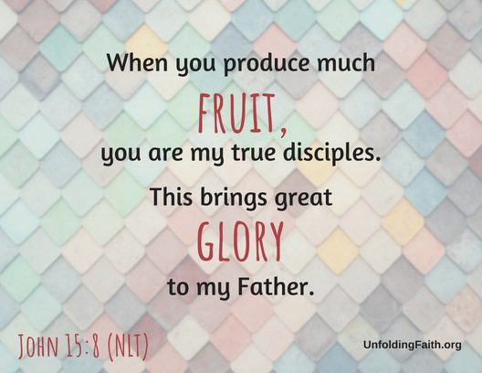 "Scripture about sharing the Good News with others, John 15:8 from the New Living Translation; ""When you produce much fruit, you are my true disciples. This brings great glory to my father."""