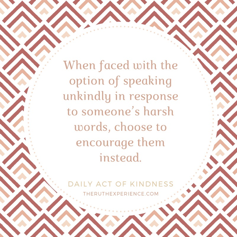 "Image of a quote about Daily Acts of Kindness: ""When faced with the option of speaking unkindly in response to someone's harsh words, choose to encourage them instead."" theruthexperience.com"