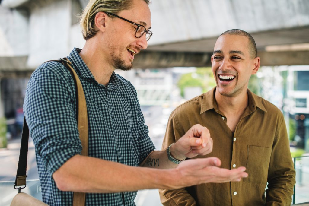 Two men discuss the Good News as one shares with the other the peace and joy he has found in a relationship with Jesus Christ.