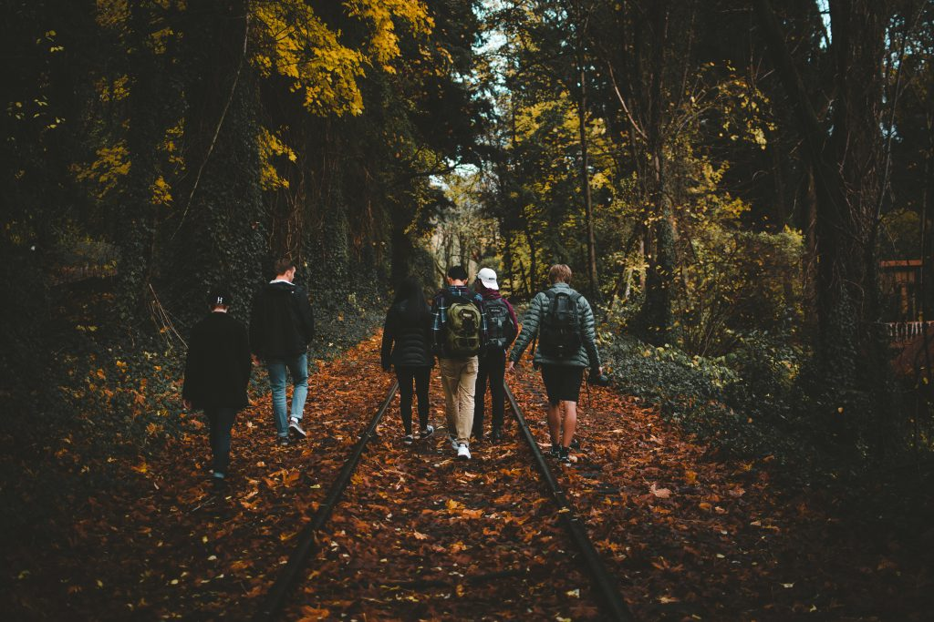 A group of young men walk through a wooded area in the fall. they make up their own small group.
