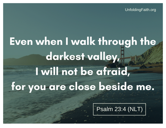"Scripture about why does God allow evil and suffering in the world? Psalm 23:4 from the New Living Translation; ""Even when I walk through the darkest valley, I will not be afraid, for you are close beside me."""