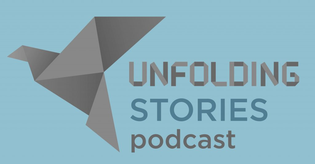 Logo image of the Unfolding Faith Christian testimony podcast logo.